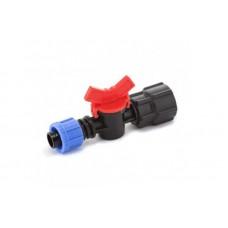 Кран шаровый Presto-PS с внутренней резьбой 3/4 дюйма для капельной ленты 16 мм, в упаковке - 50 шт.