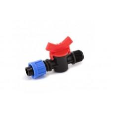 Кран шаровый Presto-PS с наружной резьбой 1/2 дюйма для капельной ленты 16 мм, в упаковке - 50 шт.
