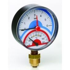 """Термоманометр радиальный с запорным клапаном (1/2"""" 0-10)"""