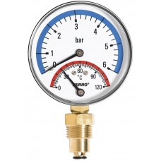 """Термоманометр с запорным клапаном (1/2"""" 0-10)"""