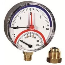 Термоманометр нижн. подкл.1/2 Ø80мм 120ºC 4 бар